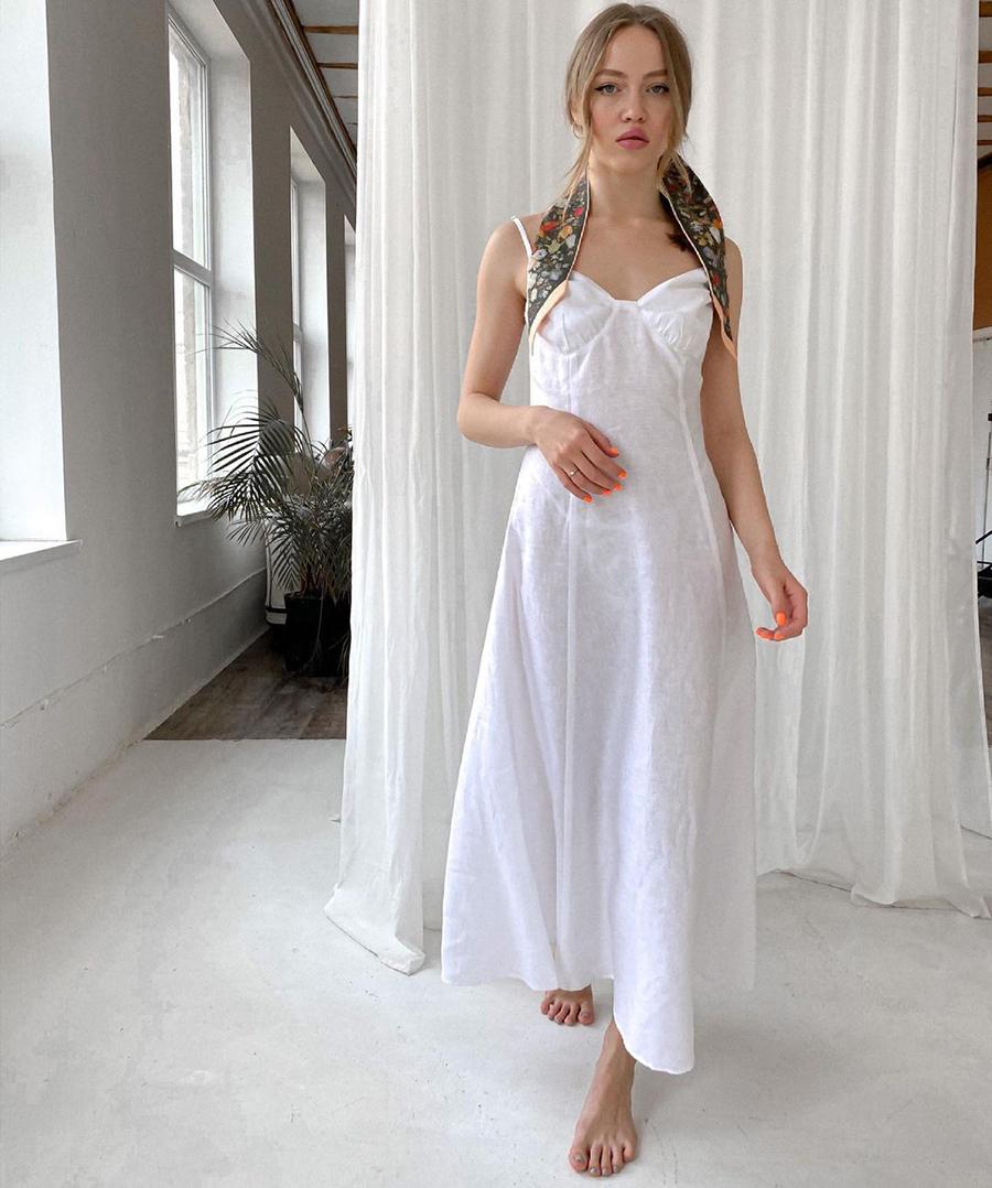 самые модные платья комбинации в бельевом стиле украинские бренды лето 2021 миди белое