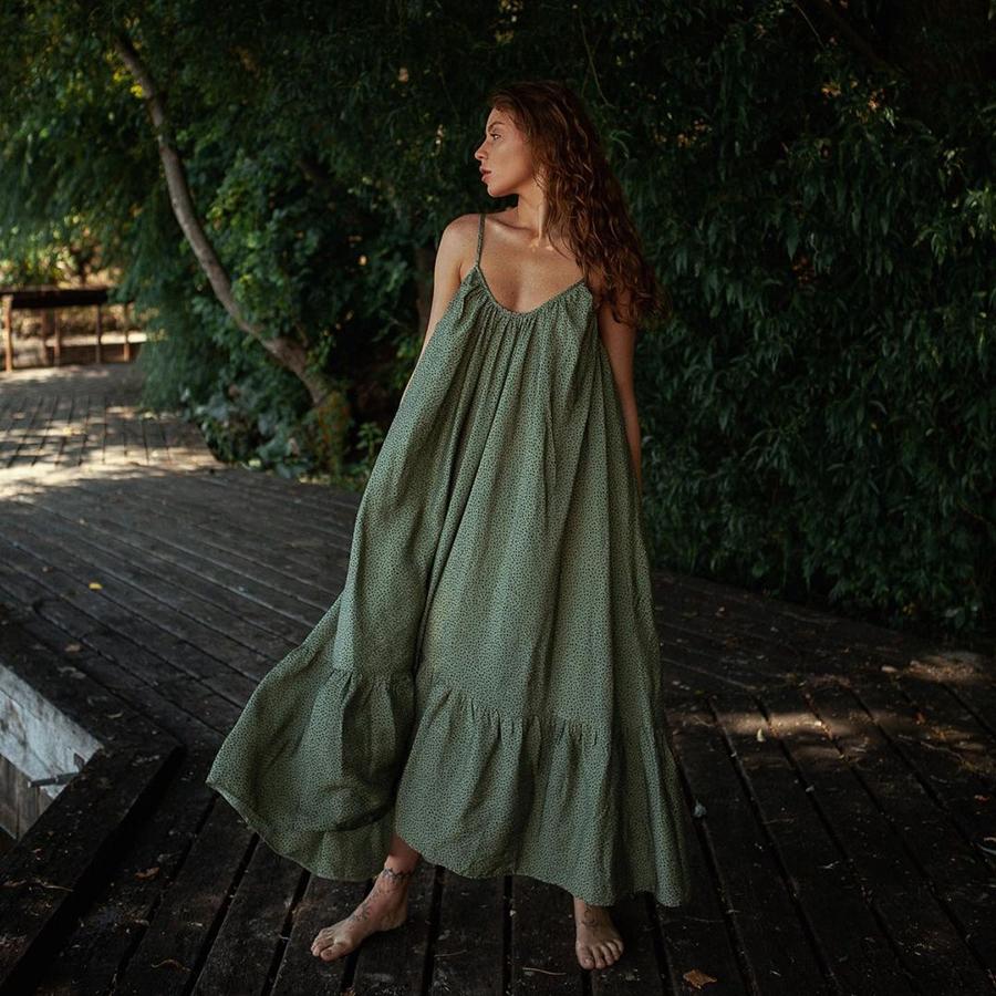 самые модные платья комбинации в бельевом стиле украинские бренды лето 2021 миди сарафан зеленое хаки