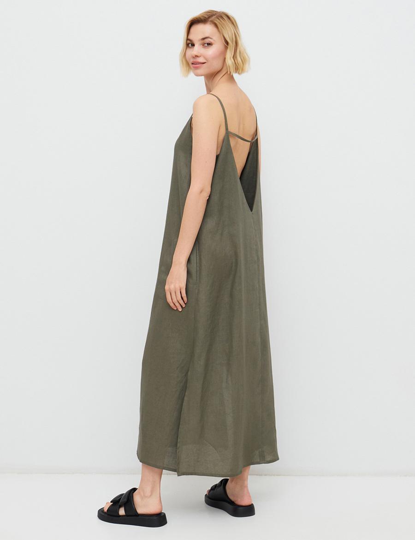 самые модные платья комбинации в бельевом стиле украинские бренды лето 2021 миди льняное сарафан зеленое хаки