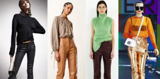 модные кожаные брюки штаны осень 2021
