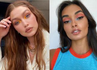 модный макияж лето 2021 яркий колорблок джиджи хадид жизель оливейра