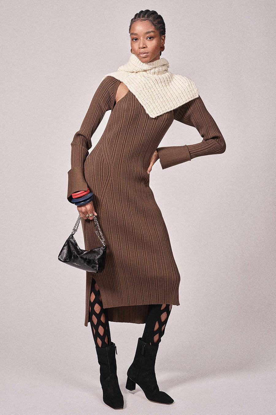 самые модные платья осень зима 2021 2022 трикотажное вязаное длинное макси миди коричневое кофейное