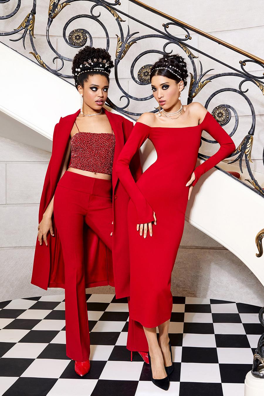 тренды осень зима 2021 2021 красный алый цвет костюм блуза брюки пальто платье