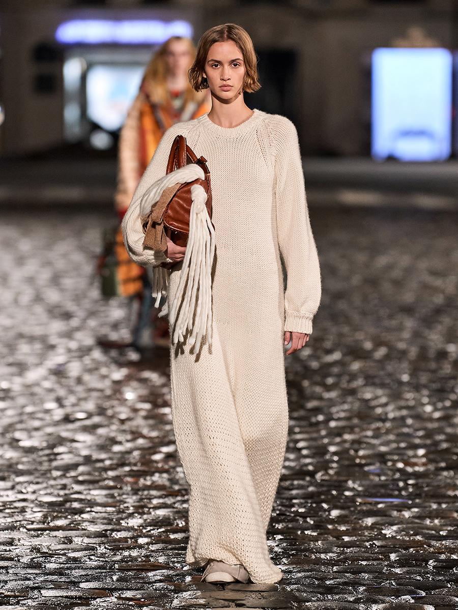 тренды осень зима 2021 2021 трикотаж вязаное платье макси длинное бежевое оверайз
