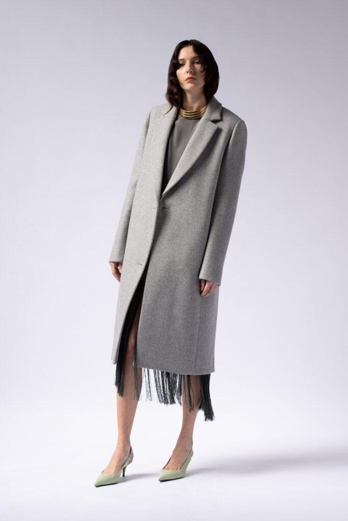 модное пальто осень 2021 миди прямое серое