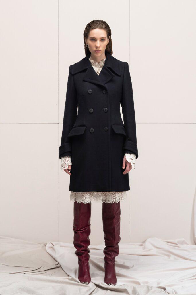 модное пальто осень 2021 миди приталенное черное двубортное