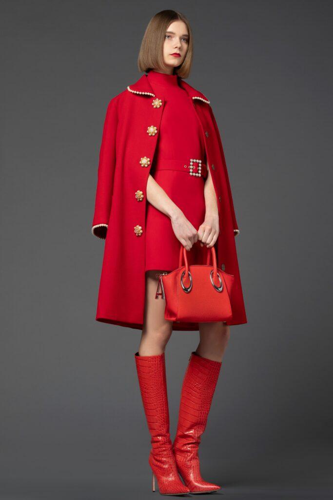 модное пальто осень 2021 миди красное
