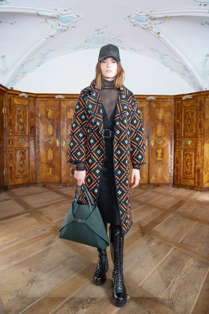 модное пальто осень 2021 принт миди