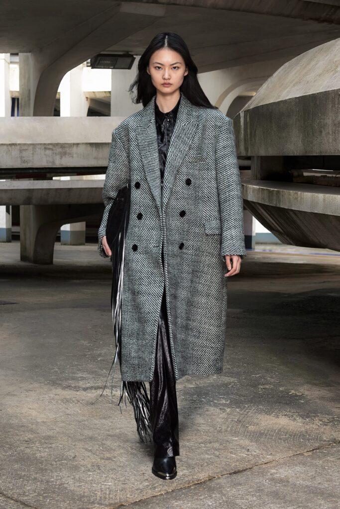 модное пальто осень 2021 твид миди макси серое