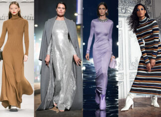 линное модное платье макси осень 2021