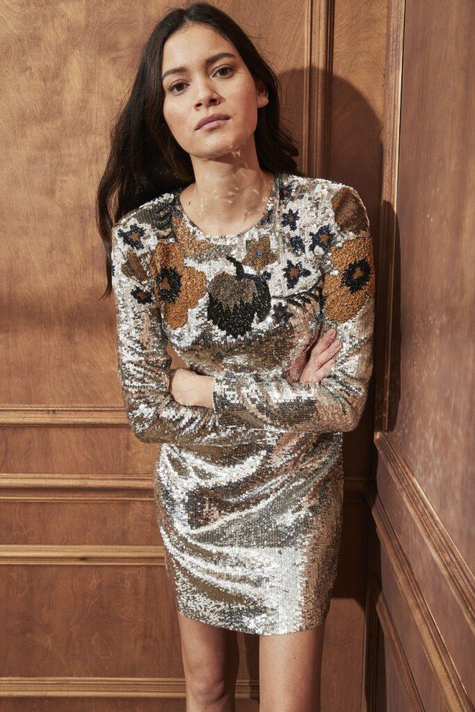 модное платье осень зима 2021 2022 цветочный прит вышивка цветы