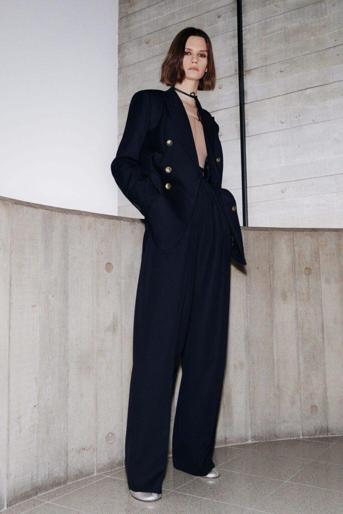 модные брюки широкие клеш оверсайз осень 2021 синие