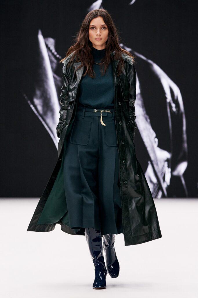 кожаное пальто тренч плащ мода осень 2021 миди черный зеленый