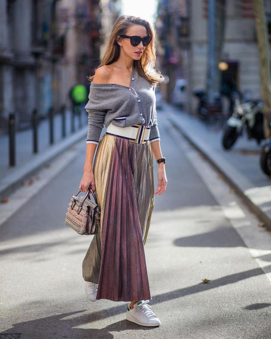 модная юбка плиссировка как стильно носить осень 2021 тренд миди  макси длинная