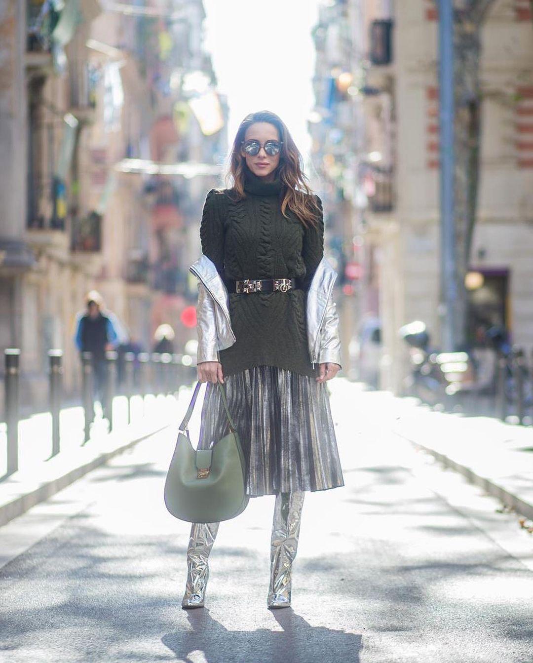 модная юбка плиссировка как стильно носить осень 2021 тренд миди серая
