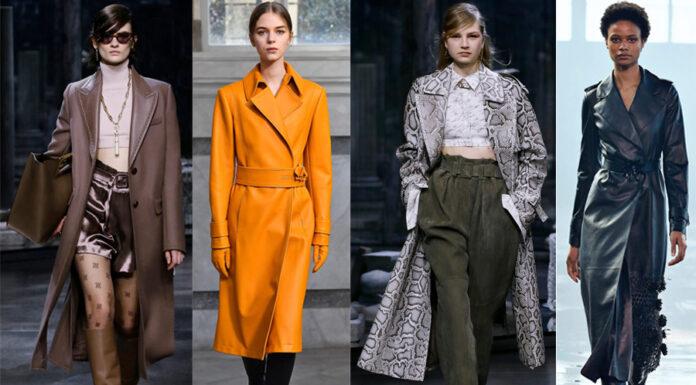кожаное пальто тренч плащ мода осень 2021