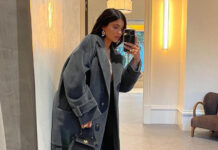кайли дженнер модное пальто осень 2021 оверсайз длинное макси синее черное серое
