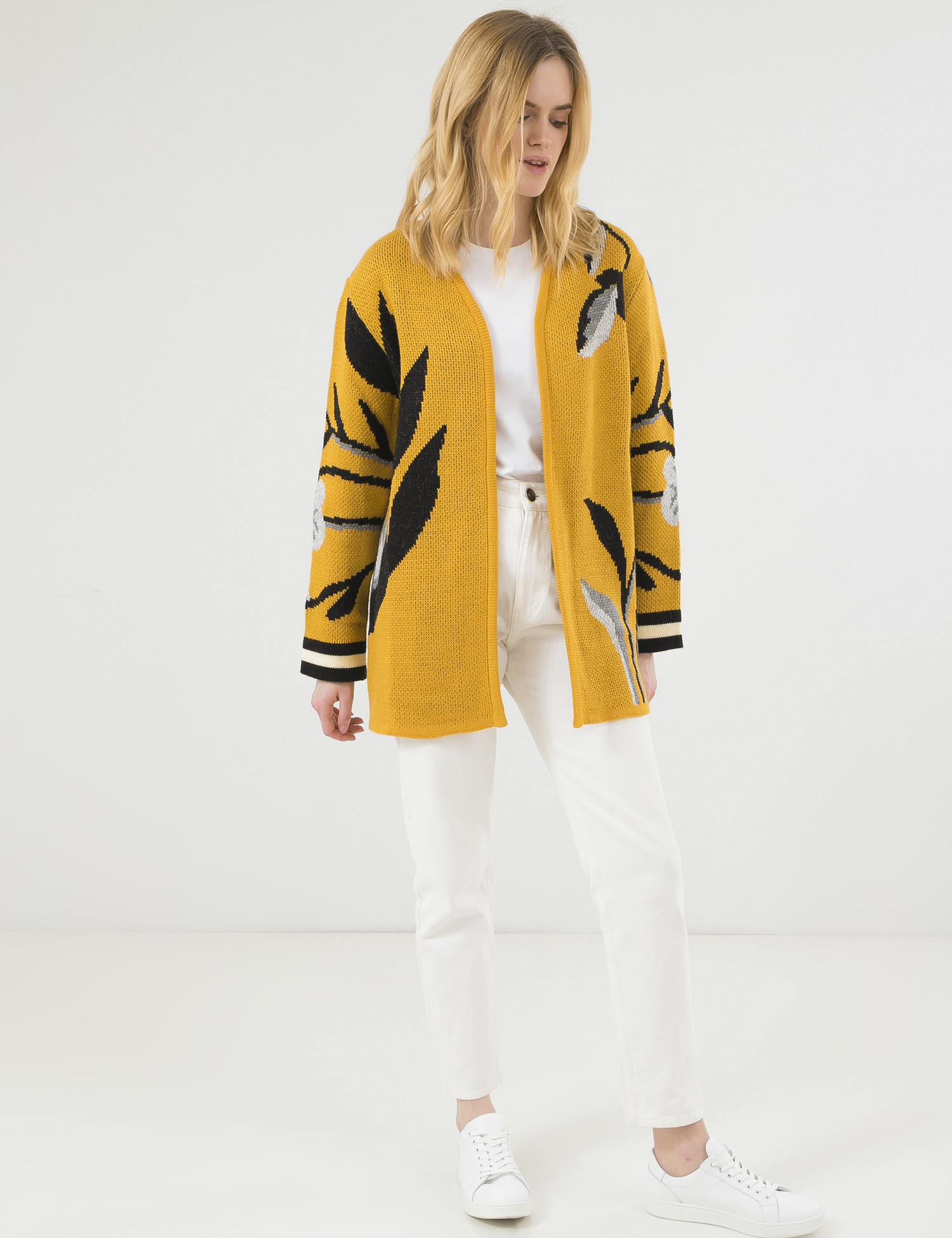 модный кардиган осень зима 2021 украинский бренд желтый принт