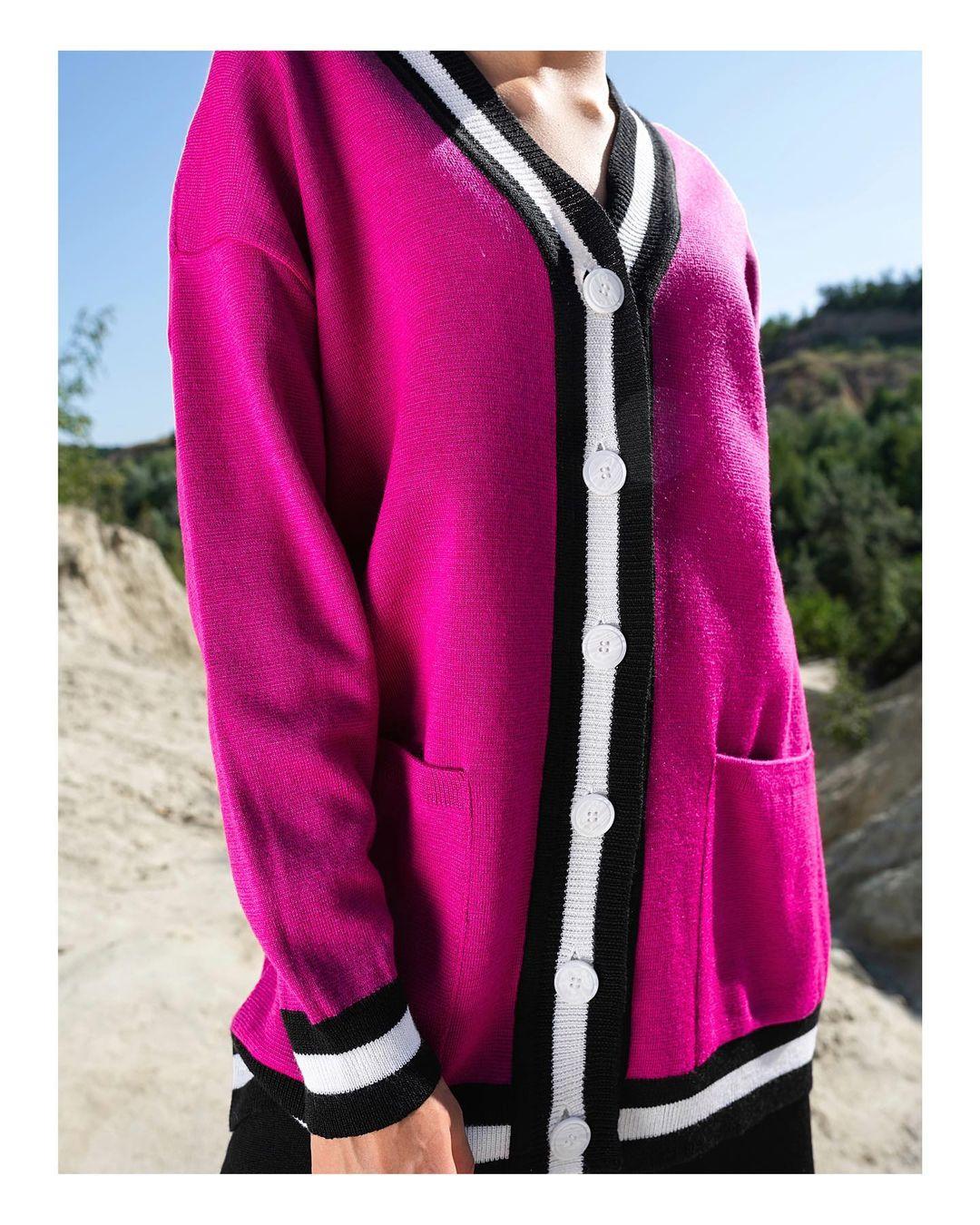 модный кардиган осень зима 2021 украинский бренд розовый фуксия