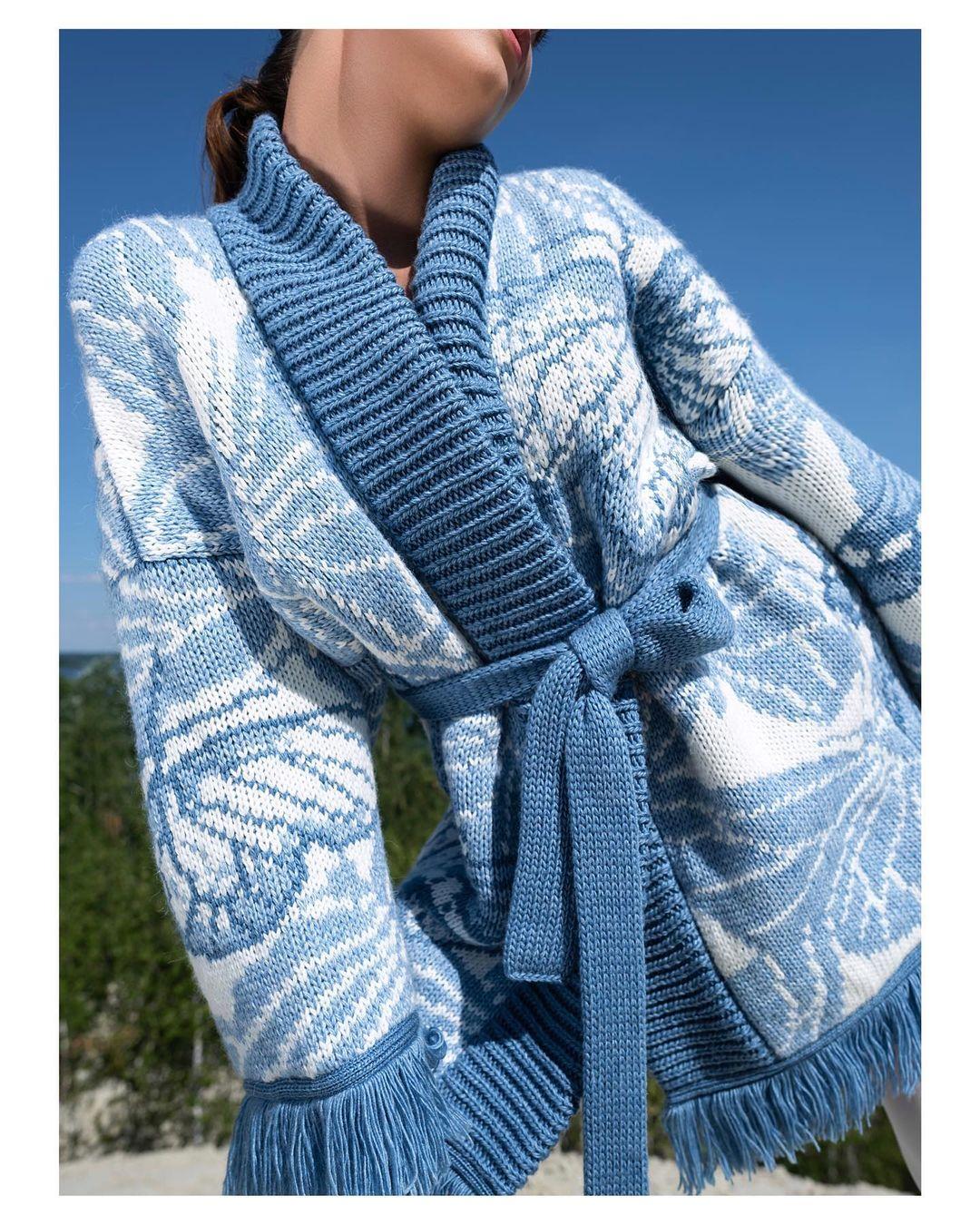 модный кардиган осень зима 2021 украинский бренд белый голубой принт бахрома теплый