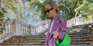 модный кожаный тренч осень 2021 лавандовый крокодиловый