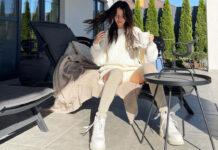 надя дорофеева трикотажный костюм шорты свитер оверсайз грубые ботинки мода осень 2021